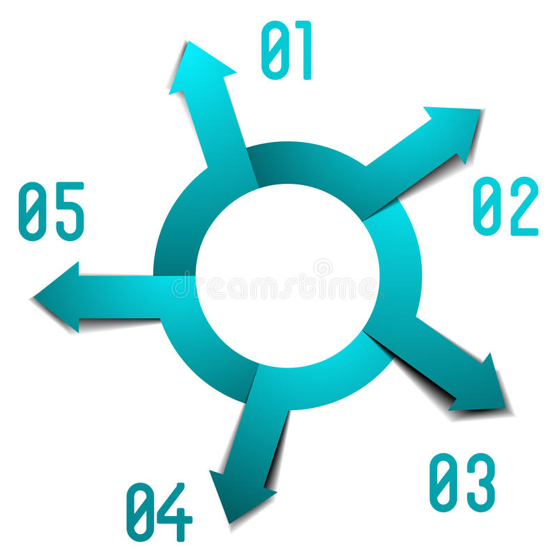 Infographic circle five arrows vector illustration