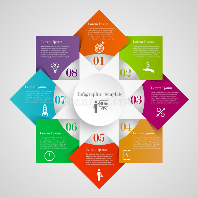 Infographic circle flowchart template. Infographic circle diamond flowchart template with 8 options, icons and text. Can be used for workflow layout, banner royalty free illustration