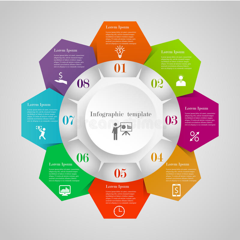 Infographic circle flowchart template. Infographic circle hexagon flowchart template with 8 options, icons and text. Can be used for workflow layout, banner vector illustration