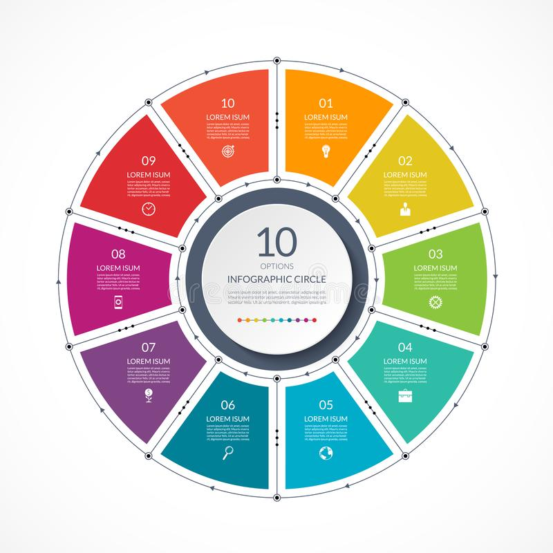 Free Infographic Circle In Thin Line Flat Style. Business Presentation Template With 10 Options Stock Photo - 117120120
