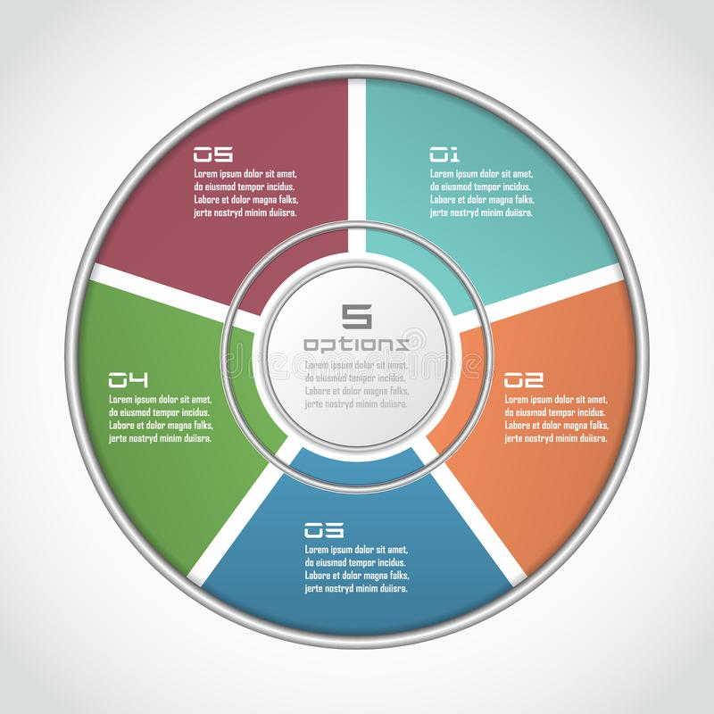 Infographic circle in thin line flat style. Business presentation template with 5 options, parts, steps. Can be used for cycle dia royalty free illustration