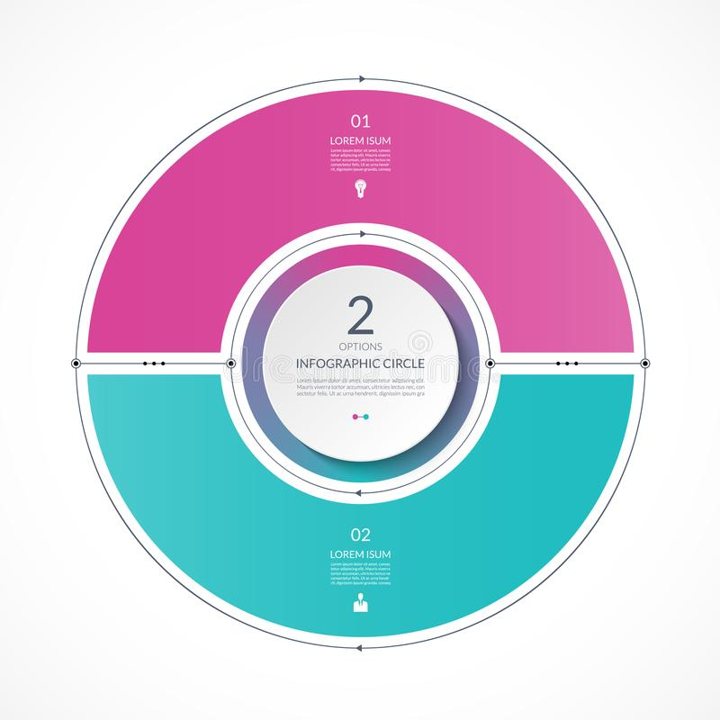 Infographic circle in thin line flat style. Business presentation template with 2 options vector illustration