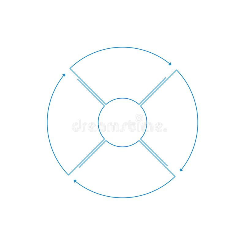 Infographic circle with arrows in linear style. Business presentation template with 4 options, parts, steps. Can be used for cycle royalty free illustration