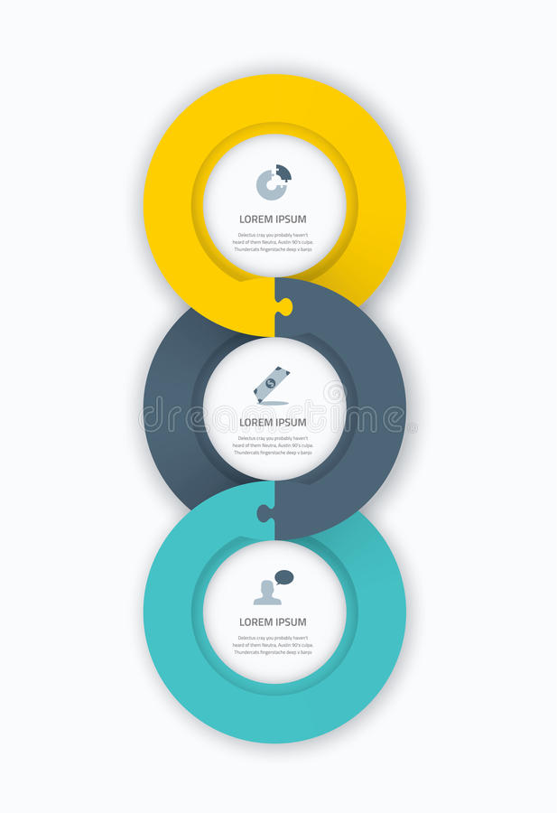 Infographic circle timeline web template for business with icons and puzzle piece jigsaw concept. Awesome flat design to be used stock illustration