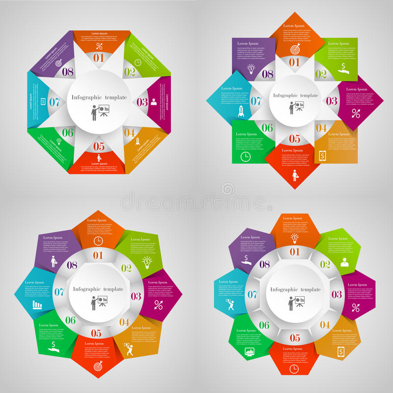 Infographic circles set. From Triangles, Squares, Pentagons, Hexagons. Business templates with 8 options with icons and place for your text. Four concepts for stock illustration