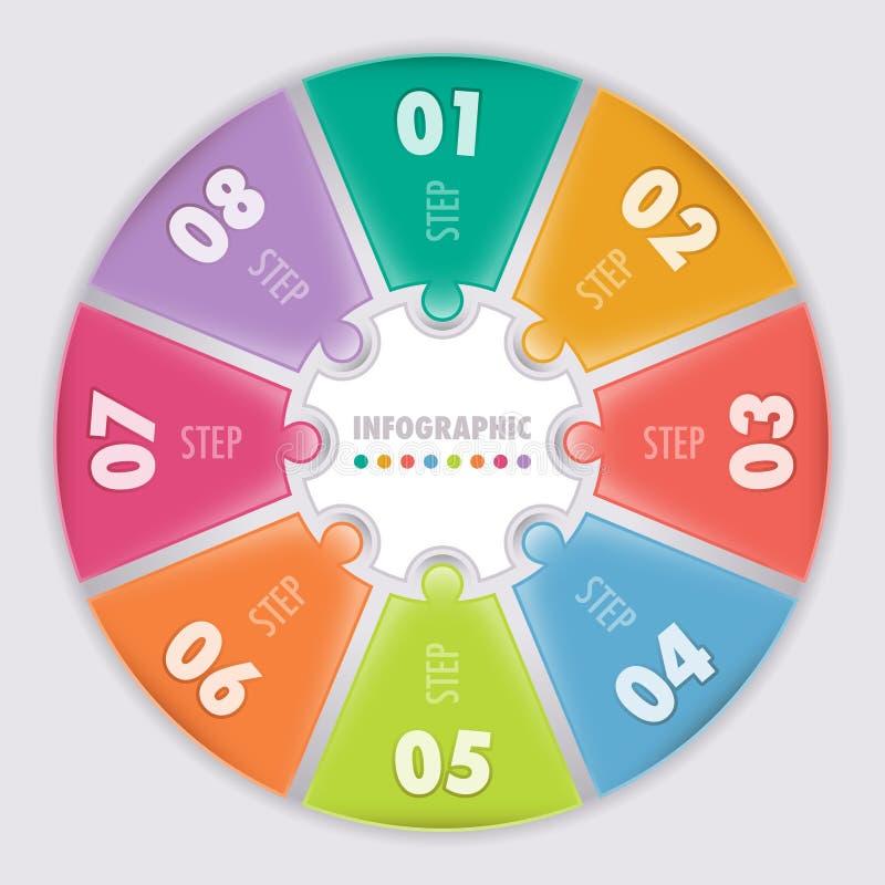Infographic circular. Ocho pasos. stock de ilustración