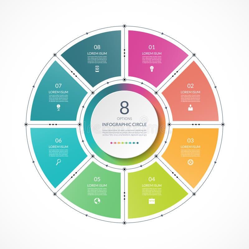 Infographic cirkel i den tunna linjen lägenhetstil Affärspresentationsmall med 8 alternativ vektor illustrationer