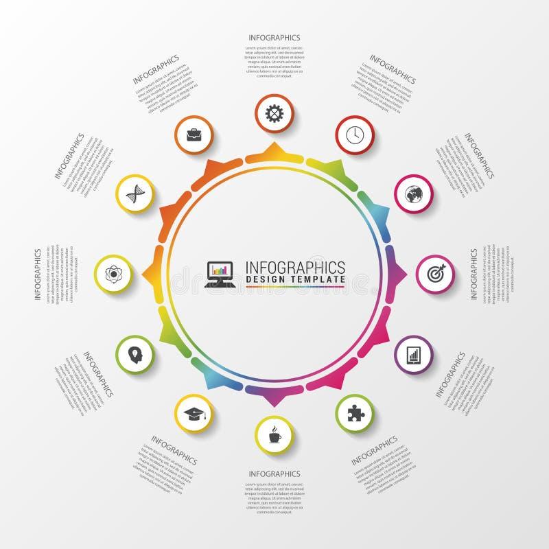 Infographic cirkel Malplaatje voor diagram, grafiek, presentatie en grafiek Vector illustratie royalty-vrije illustratie
