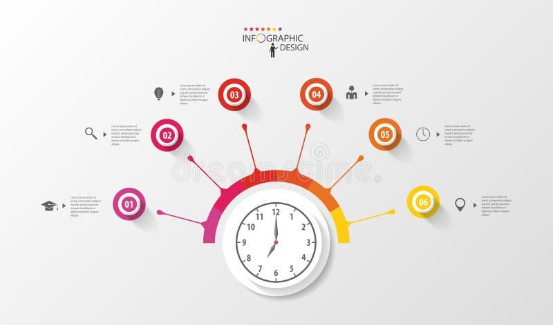 Infographic cirkel med klockan Mall för affärsplan vektor royaltyfri illustrationer