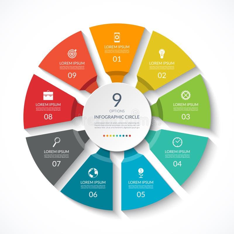 Infographic cirkel Processdiagram Vektordiagram med 9 alternativ royaltyfri illustrationer