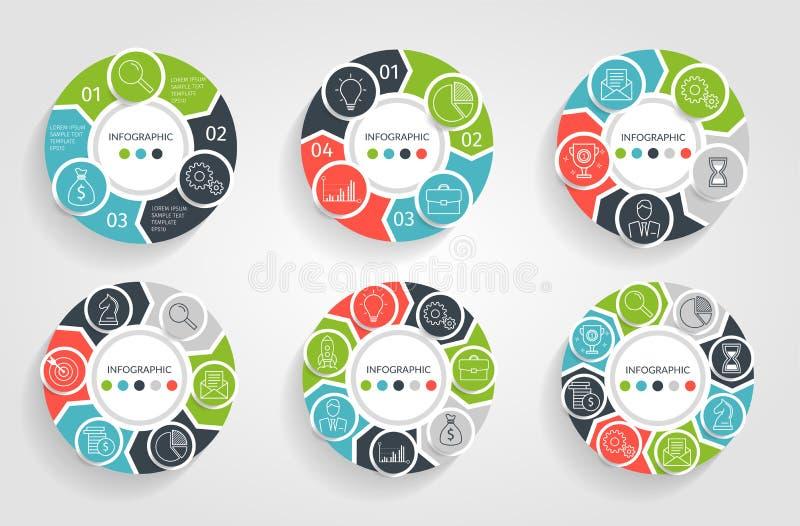 Infographic cirkelpilar Affärsidéen med 3 4 5 6 7 8 alternativ, särar, kliver eller processar Vektorcirkeldiagram royaltyfri illustrationer