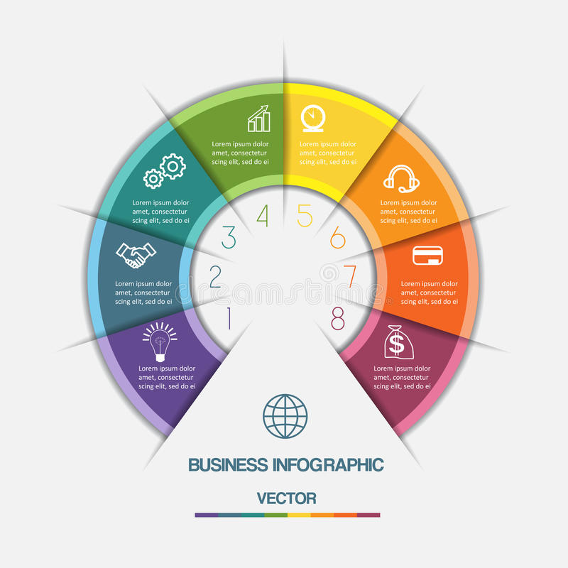 Infographic Color Semicircle on eight positions. Infographic Color Semicircle template with text areas on eight positions royalty free illustration