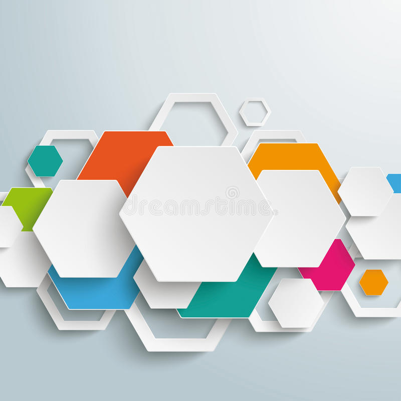 Infographic Colored Paper Hexagons Line PiAd vector illustration