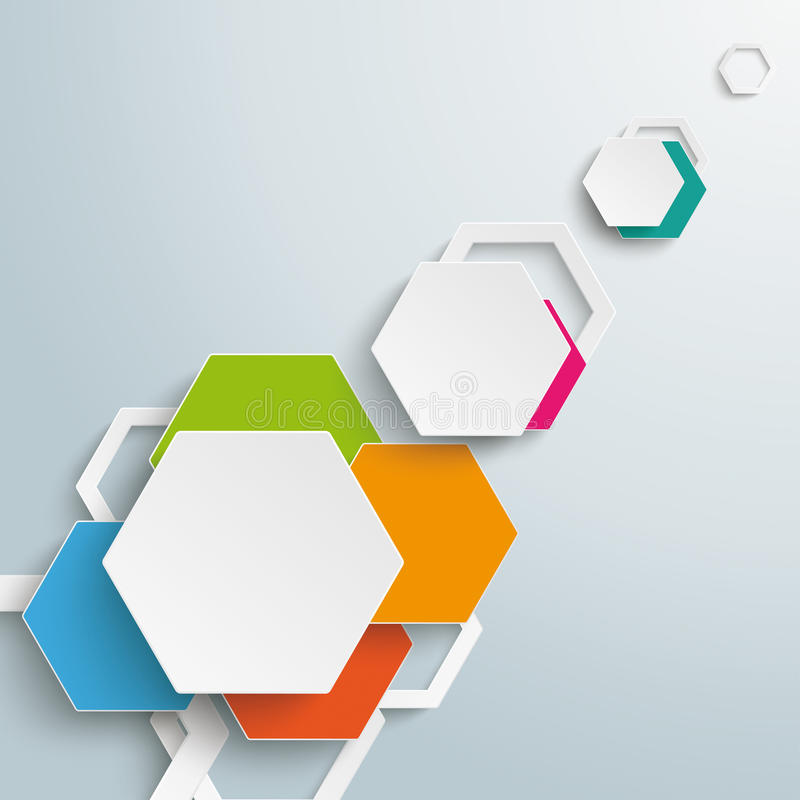 Infographic Colored Paper Hexagons Sunlight PiAd royalty free illustration
