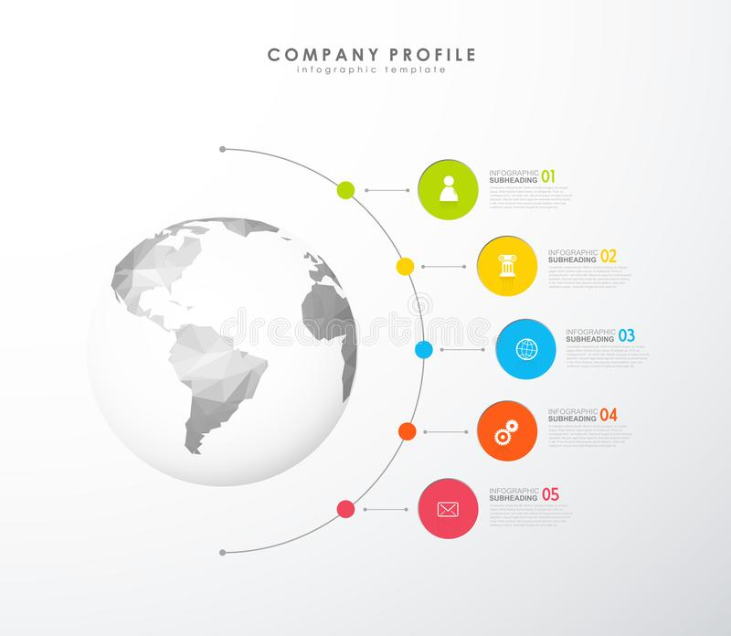 Infographic colorful company profile vector template with icons. royalty free illustration