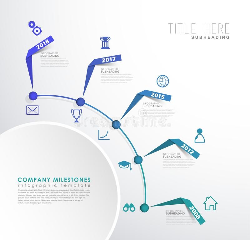 Infographic colorful milestones time line vector template with i. Cons. Vector art royalty free illustration