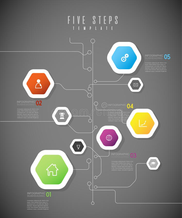 Infographic colorful milestones time line vector template with i. Cons. Vector art vector illustration