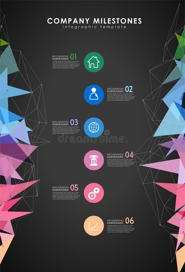 Infographic colorful milestones time line vector template. Infographic colorful milestones time line vector template with icons. Dark version stock illustration