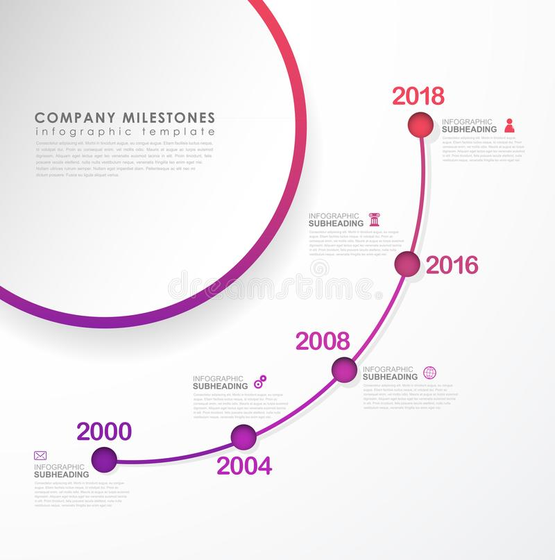 Infographic colorful milestones time line vector template. Infographic colorful milestones time line vector template with icons vector illustration