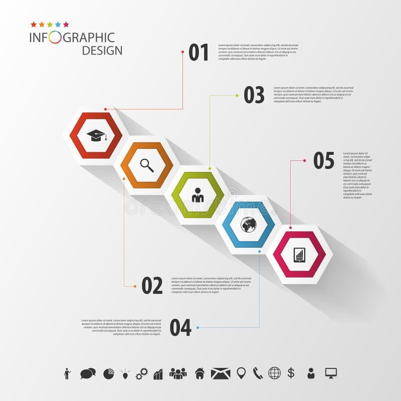 Infographic colorido con hexágonos Modelo del asunto Vector stock de ilustración