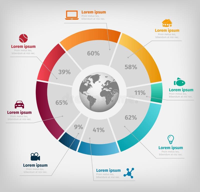 Infographic colorido do vetor global do diagrama no fundo cinzento ilustração do vetor