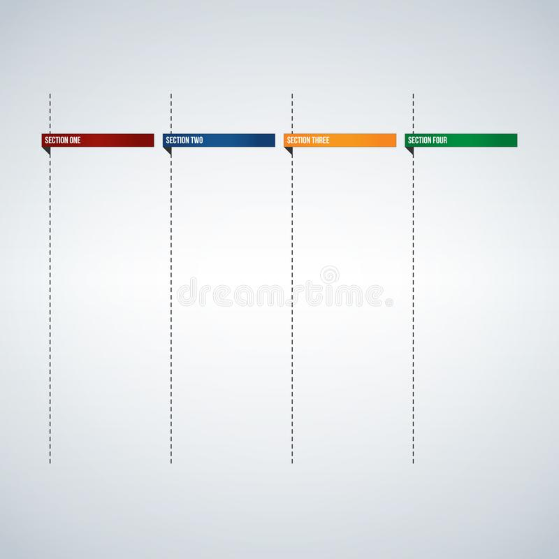 Infographic columns for text box or Banners template, colorful tabs design ready to enter your text. Usable for web, apps, brochur stock illustration