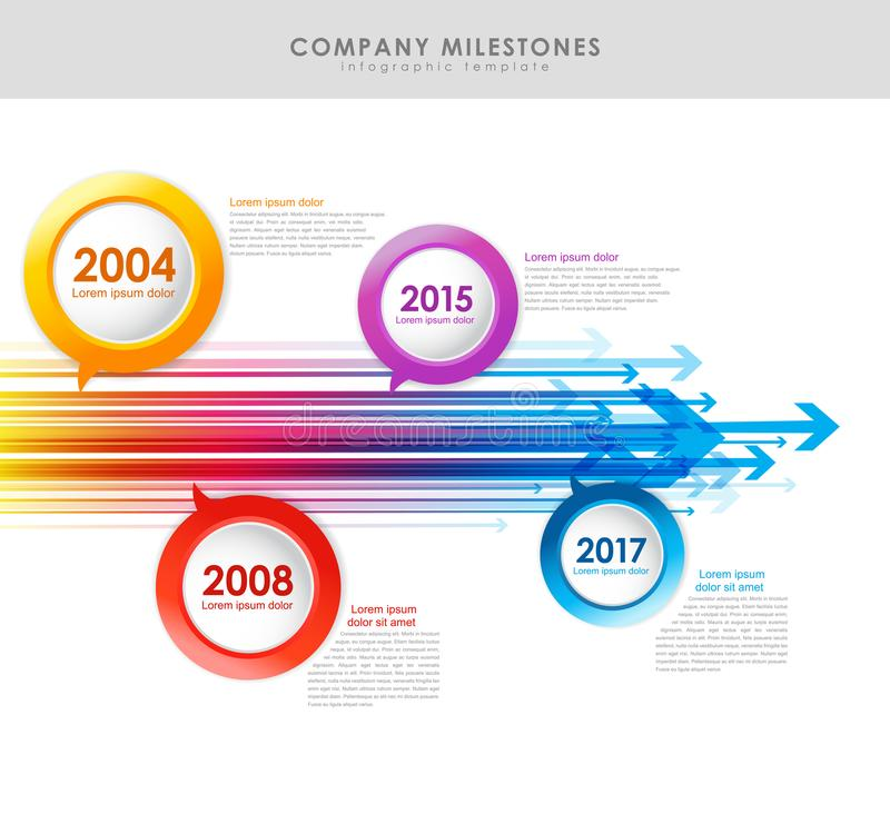 Infographic company milestones timeline vector template with arr. Ows. Vector art royalty free illustration