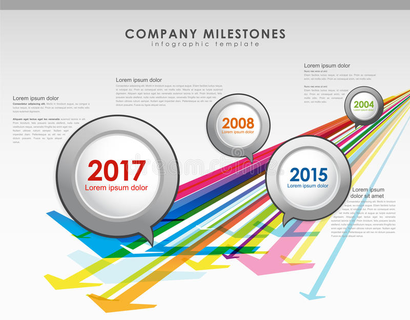 Infographic company milestones timeline vector template. With arrows stock illustration