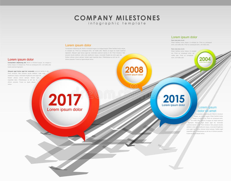 Infographic company milestones timeline vector template. With arrows royalty free illustration