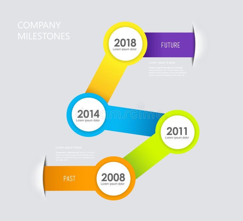 Infographic company milestones timeline vector template. Vector art stock illustration