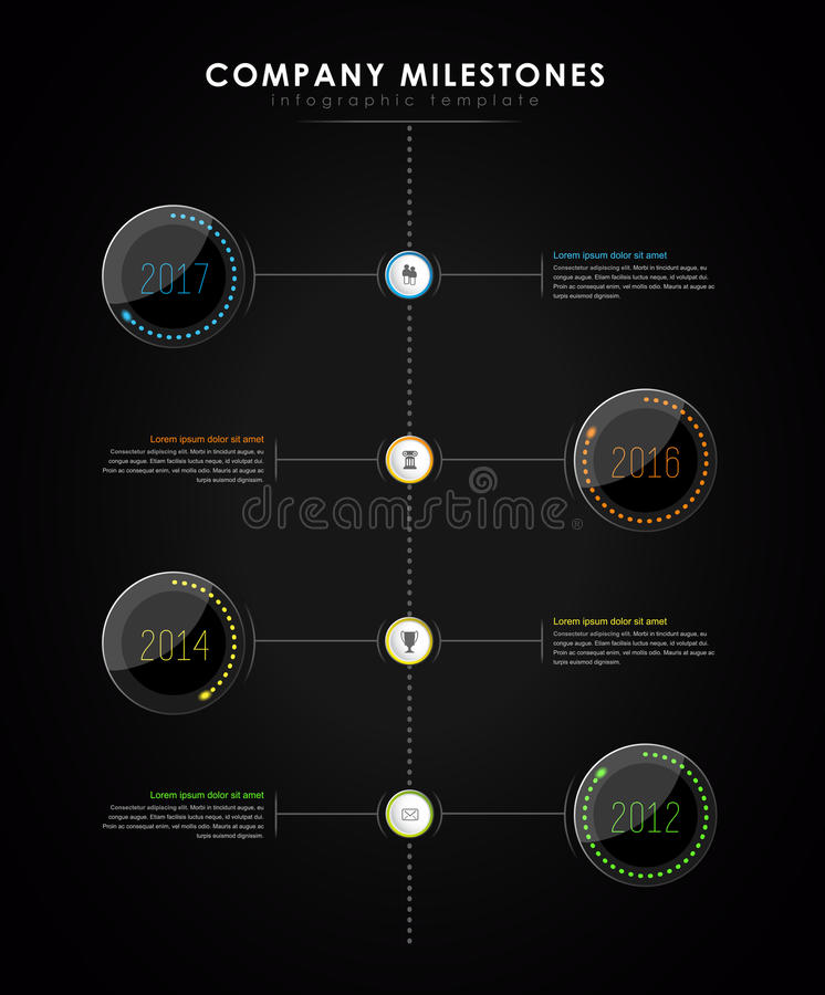 Infographic company milestones timeline vector template. With led light effect - dark version royalty free illustration