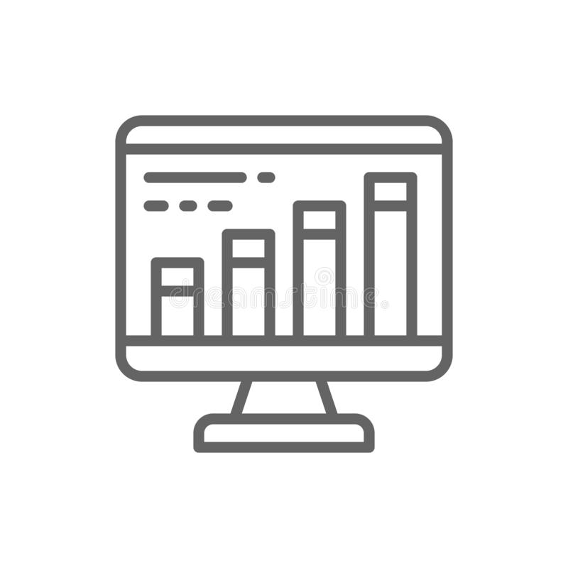 Infographic in computer browser, search engine optimization line icon. vector illustration
