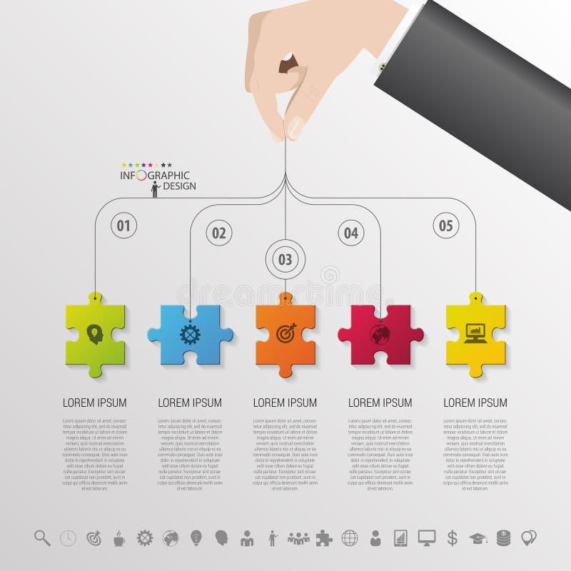 Infographic con el pedazo del rompecabezas en el fondo gris Vector stock de ilustración