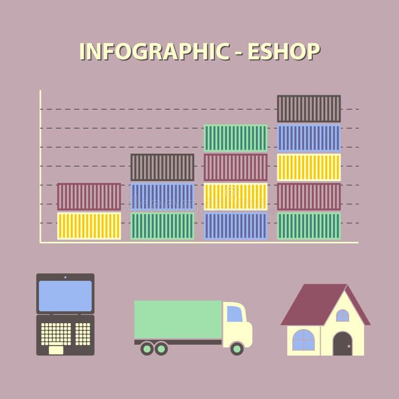 Infographic con il grafico del negozio online crescente di affari royalty illustrazione gratis