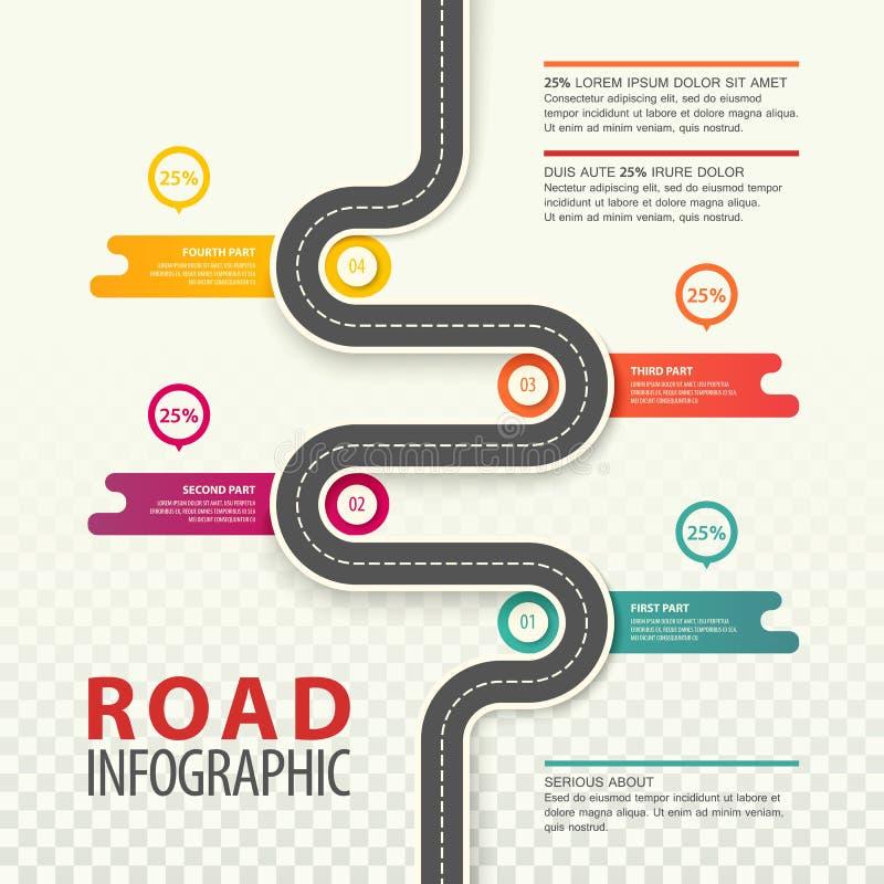 Infographic con la opinión superior sobre el camino con datos ilustración del vector