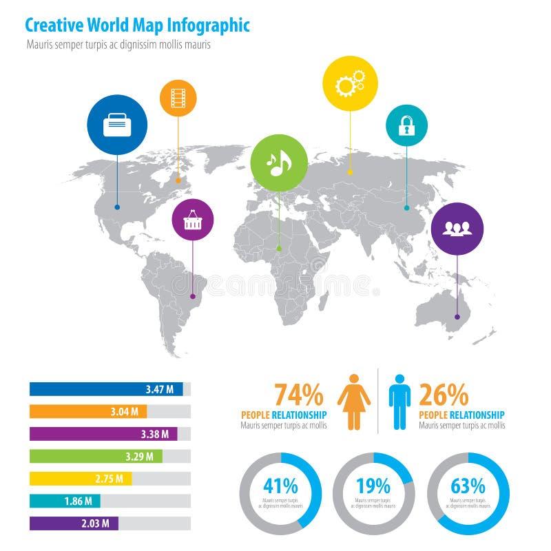 Infographic con la popolazione e la relazione di crescita illustrazione vettoriale