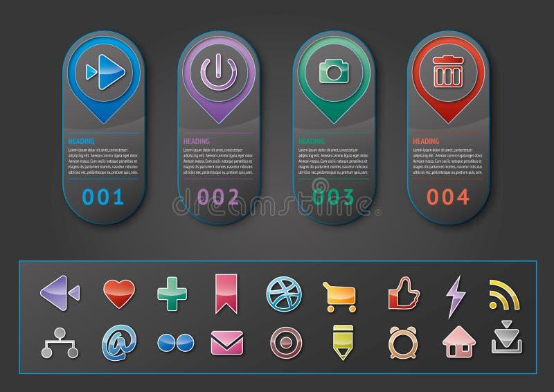 Infographic con le figure e le icone del sociale illustrazione di stock