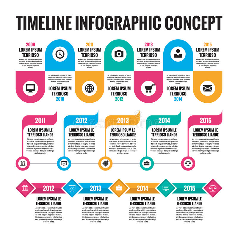 Infographic concept in flat design style - timeline template for presentation, booklet, web stock illustration