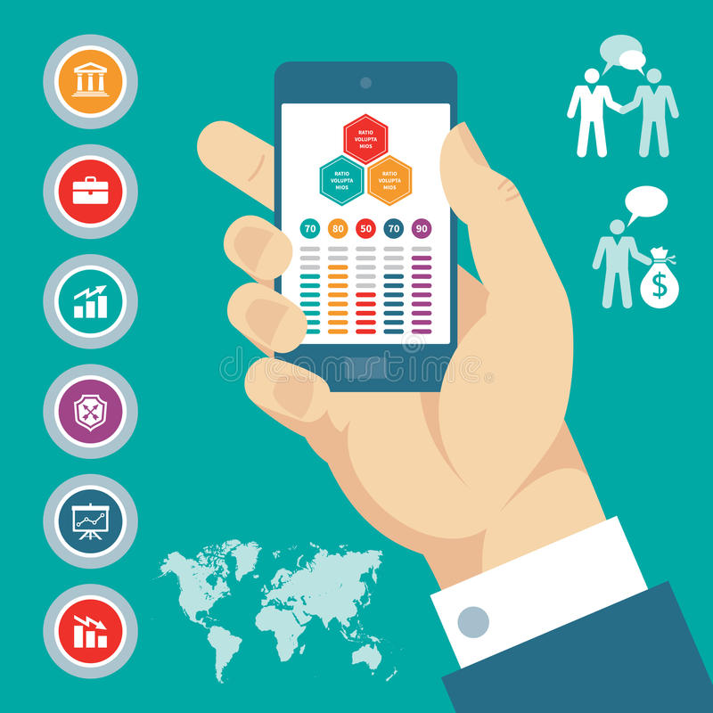 Infographic concept with mobile phone in hand & vector business icons. stock illustration