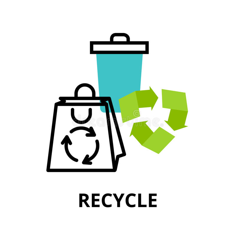 Infographic concept of recycle and environmental protection. Modern flat thin line design icon, vector illustration, infographic concept of recycle and royalty free illustration
