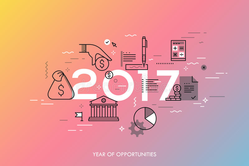 Infographic concept, 2017 - year of opportunities. New hot trends and predictions in economics, budget planning, money vector illustration