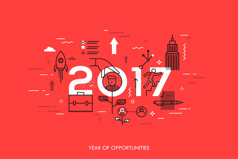 Infographic concept, 2017 - year of opportunities. New trends and prospects in career building, job searching royalty free illustration