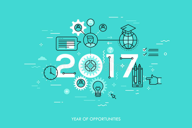 Infographic concept 2017 year of opportunities stock illustration