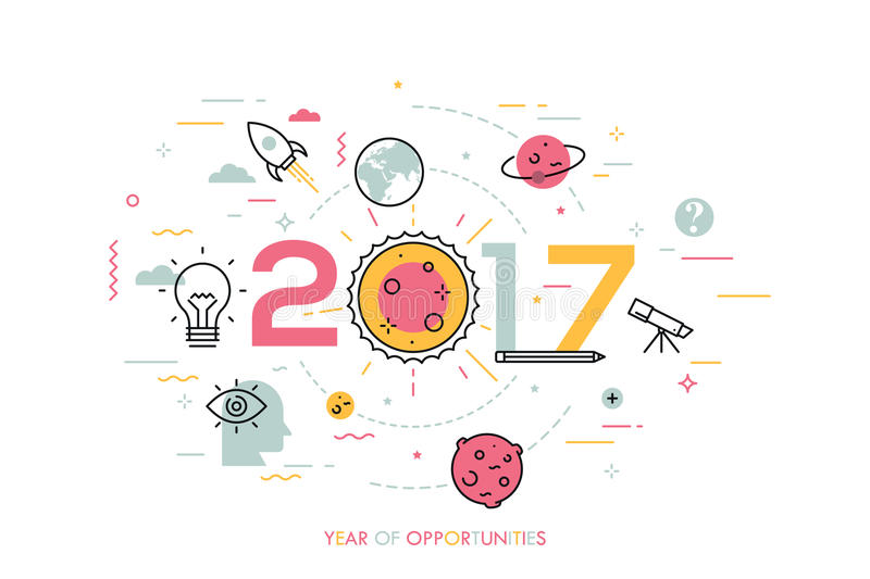 Infographic concept, 2017 - year of opportunities. Trends and prospects in space research and exploration, scientific vector illustration
