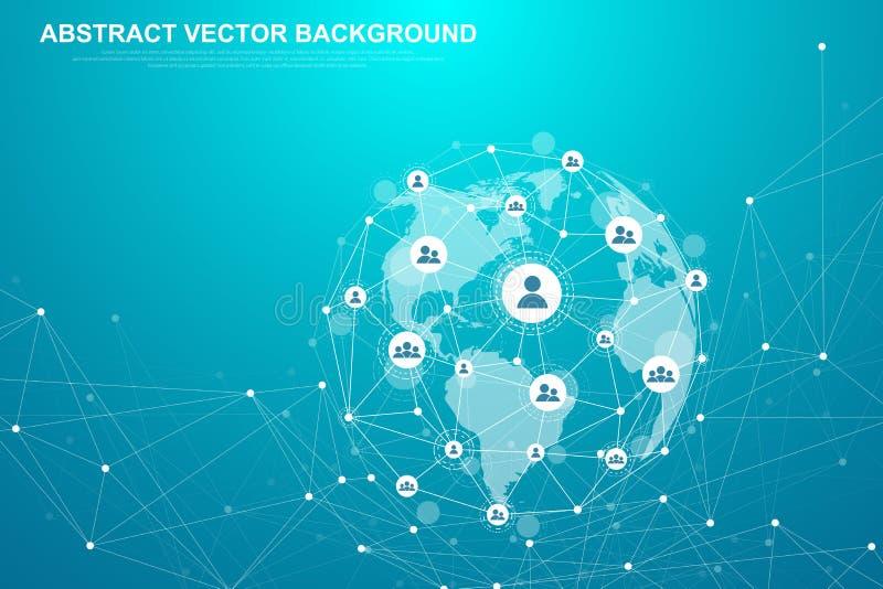 网络连接概念摘要技术 与点和线的全球网络连接 大数据 皇族释放例证