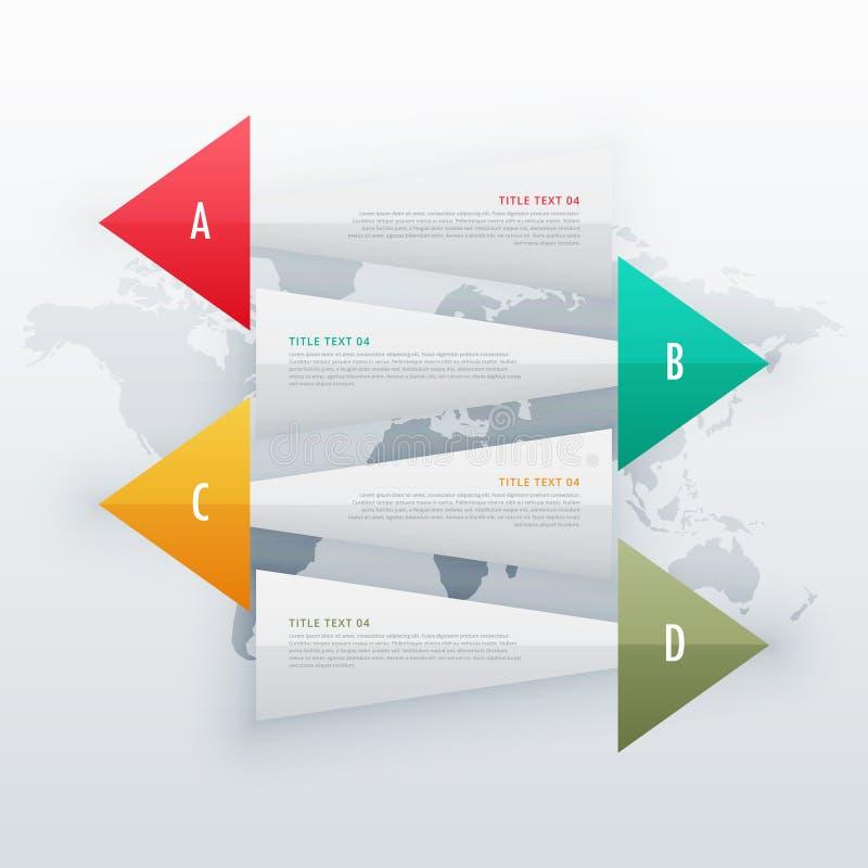 infographic creatieve banners vier het ontwerpmalplaatje van het stappenwerkschema stock illustratie