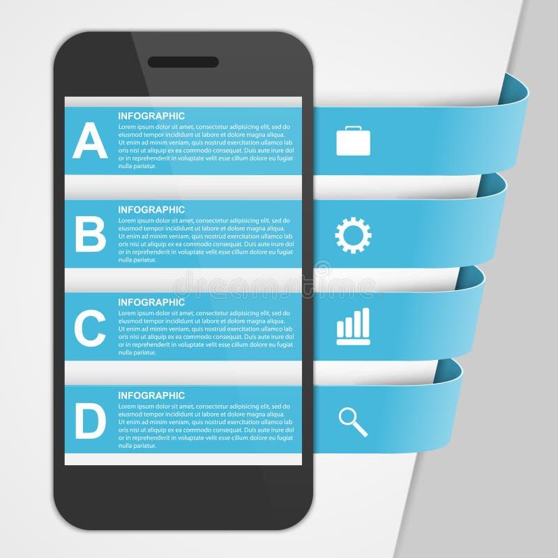 Infographic creativo del diseño moderno con el teléfono móvil libre illustration