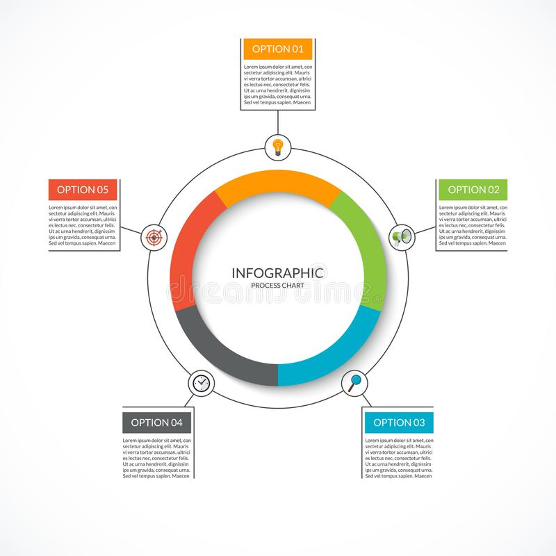 Infographic cycle diagram. Process chart with 5 options. Vector circle template for business infographics. Can be used for graph, presentation, report, step stock illustration