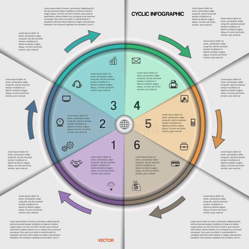Infographic cyclic business process or workflow for project stock infographic cyclic business process or workflow for project and other your variant vector illustration template with text areas on six positions flashek Choice Image
