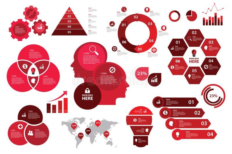 Infographic czerwonego koloru planu biznesowego wykresu elementów mapy ustalony strzałkowaty unaocznienie ilustracja wektor